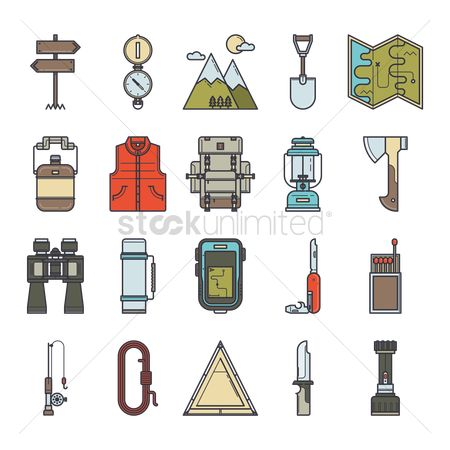 Hatchet : Camping icons set