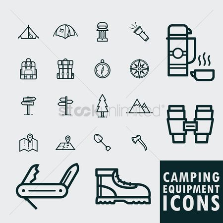 Torch : Camping icons set