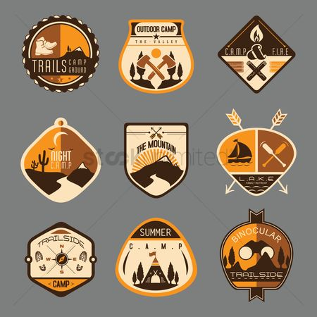 Summer : Camping labels