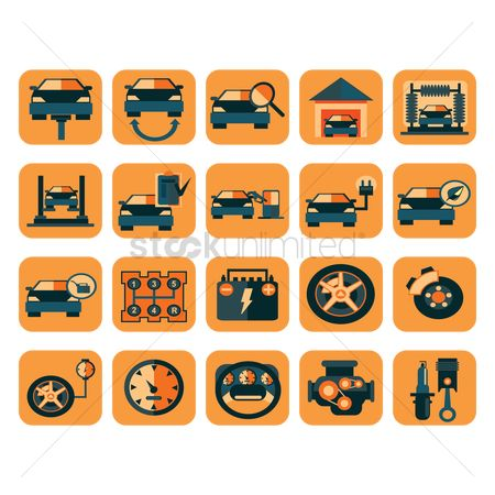 Car speedometer : Car service station icons