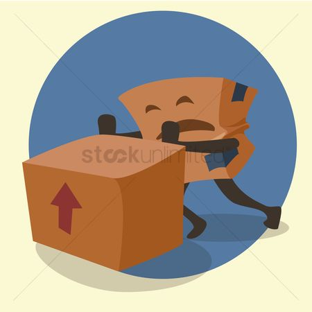 Hand truck : Cardboard box cartoon moving parcel with a dolly