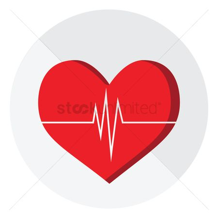 Cardiogram : Cardiogram on red heart shape