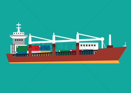 Sail : Cargo ship with containers