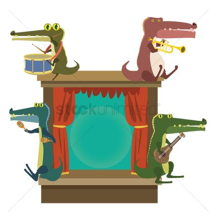 Trumpets : Cartoon alligator playing with musical instruments