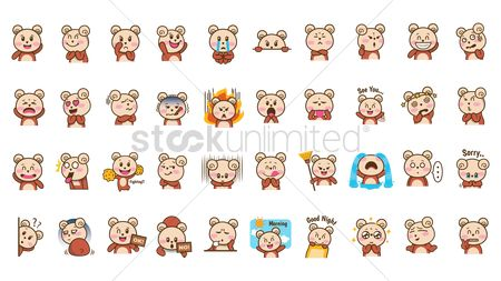 Broom : Cartoon bear expressions set