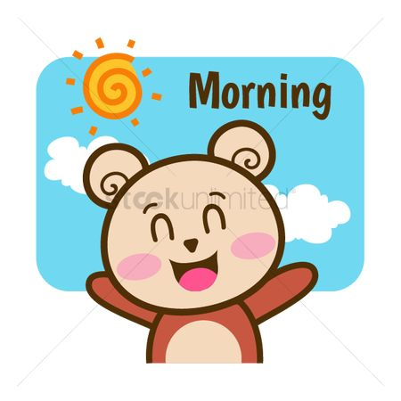 Teddybear : Cartoon bear wishing morning