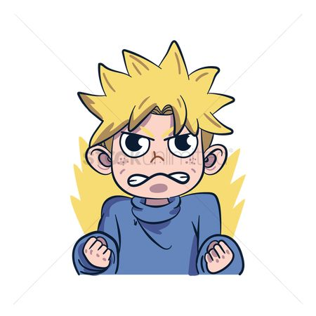 Annoy : Cartoon character expressing angry