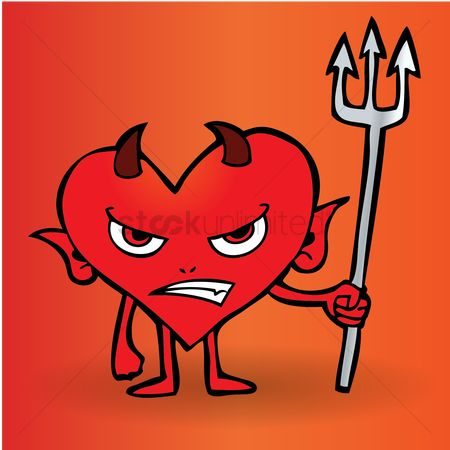 Annoy : Cartoon devil holding a pitch fork