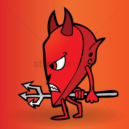 Heart : Cartoon devil walking sideways with a pitch fork