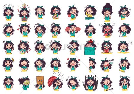 Lady : Cartoon girl expressions pack