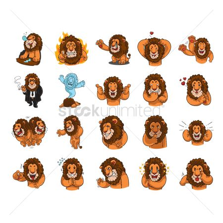 Character : Cartoon lion expressions pack