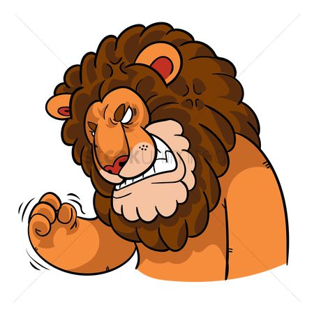 Annoy : Cartoon lion feeling frustrated
