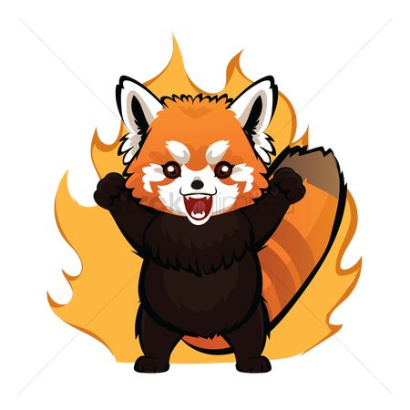 Annoy : Cartoon red panda feeling furious