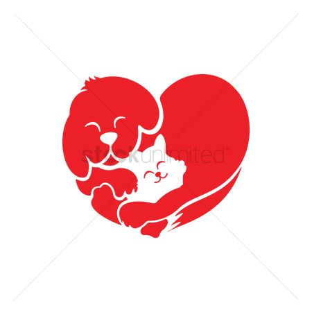 Red : Cat and dog forming a heart