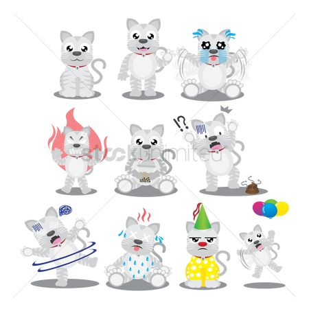 Clowns : Cat character with different actions