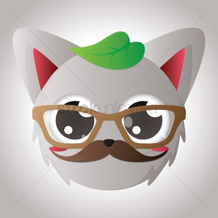 Moustache : Cat face with emotional expression