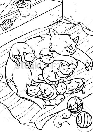 Cartoon : Cat with kittens