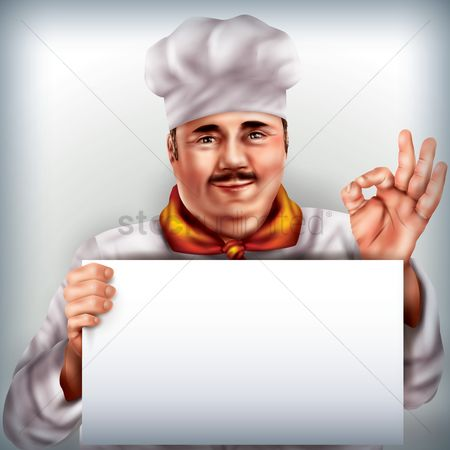 Clothings : Chef holding placard