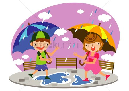 Umbrella : Children playing in the rain