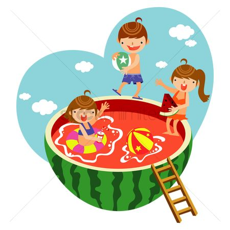 Watermelon : Children playing in the watermelon pool