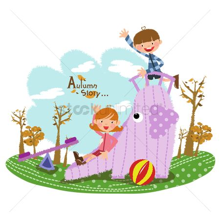 Recreation : Children playing on a slide