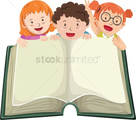 Stories : Children with opened book