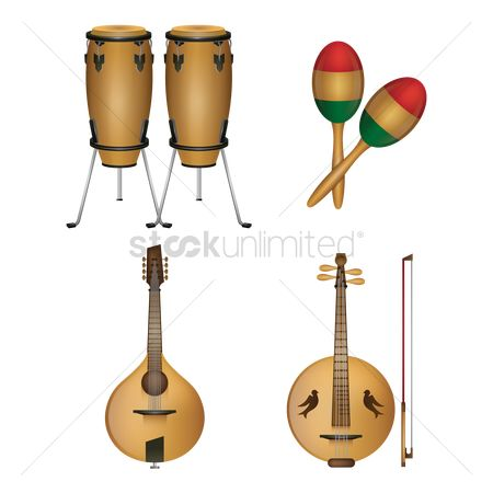 Drums : Chinese guitar lute with bow  percussion instruments