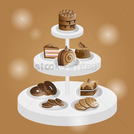 Biscuit : Chocolate confectioneries on a tiered tray