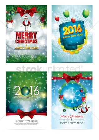 Santa : Christmas and new year greetings set