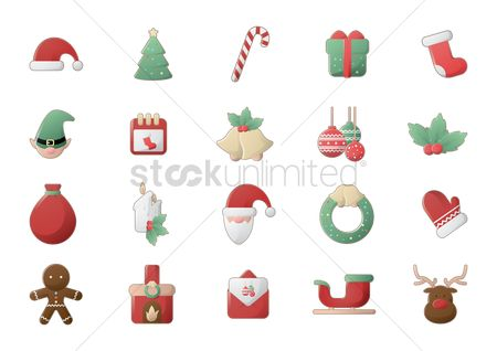 Mitten : Christmas icon set