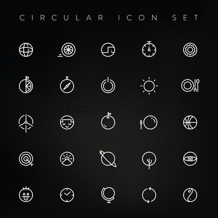 Dishes : Circular icon set