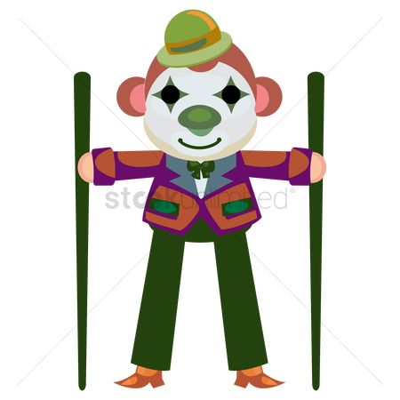 Clowns : Circus monkey with clown face paint performing with tilt sticks