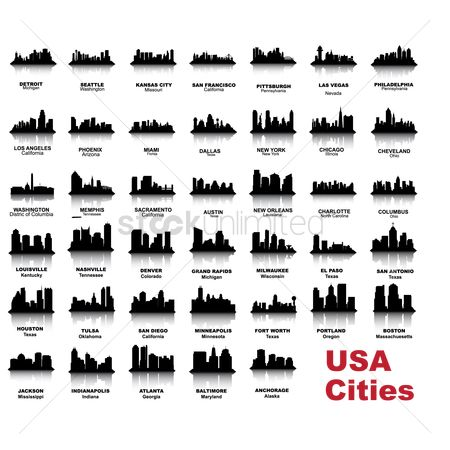 America : City skyline silhouettes collection
