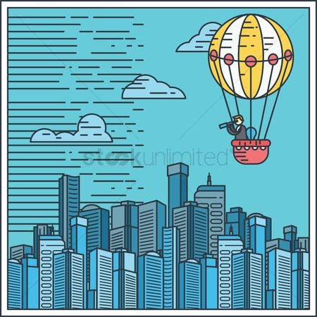Building : Cityscape and hot air balloon