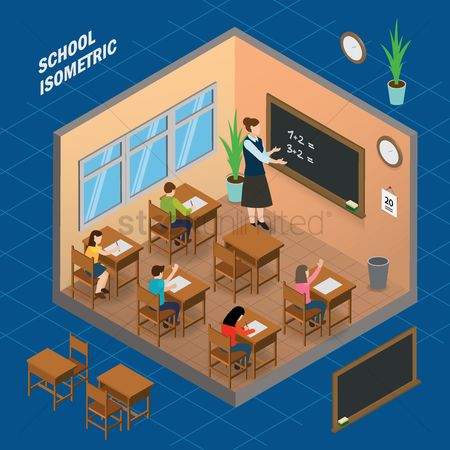 Teaching : Classroom school isometric