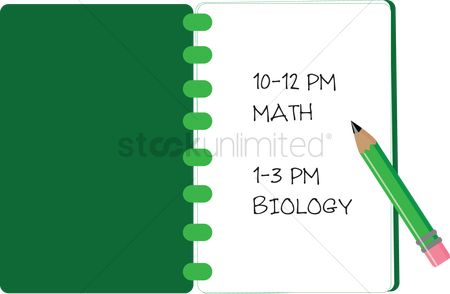 Biology : Classroom time table in a notebook