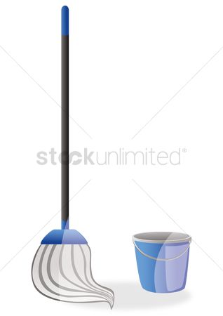 Households : Cleaning mop with bucket