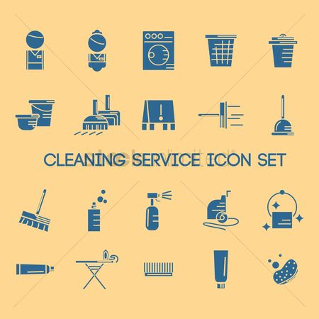 Broom : Cleaning service icon set