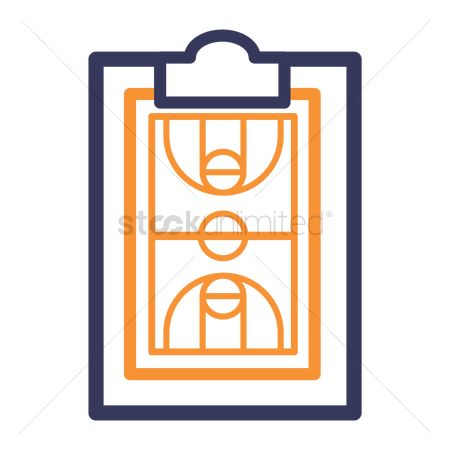 Wooden sign : Clipboard and basketball court icon