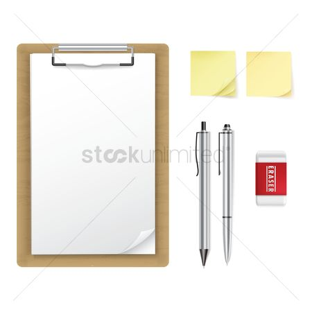 Mechanicals : Clipboard  sticky note  pen  pencil and eraser