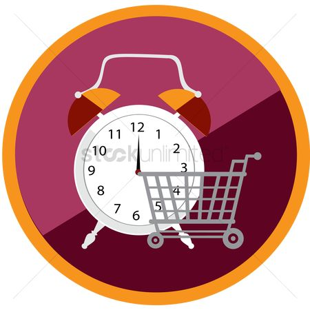 Shopping cart : Clock and shopping cart icon