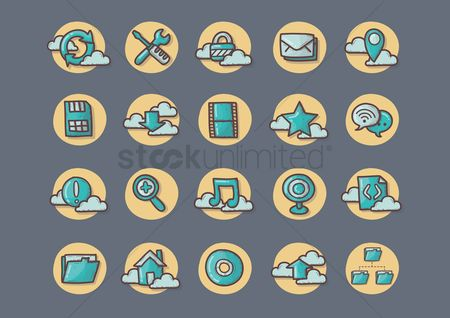 Errors : Cloud computing flat icons