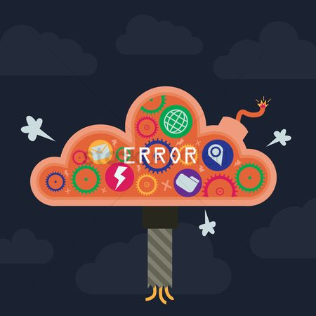 Errors : Cloud storage concept on cloud error