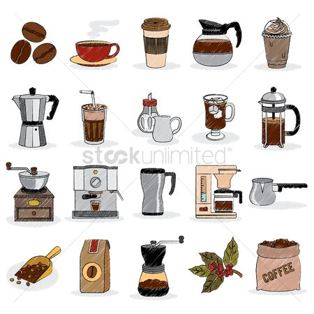 Machines : Coffee set icons