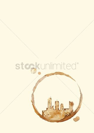 Aroma : Coffee stain of a city skyline