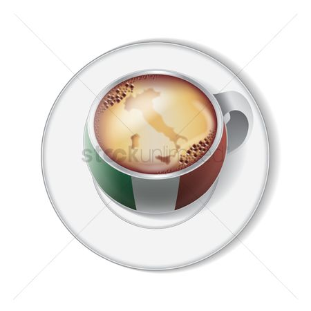 Crockery : Coffee with italy flag decoration
