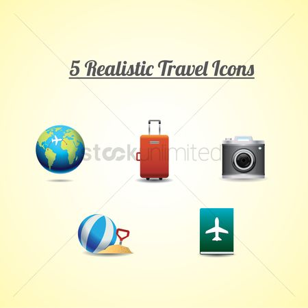 Touring : Collection of 5 realistic travel icons