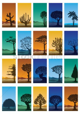 Graphic : Collection of abstract trees wallpapers