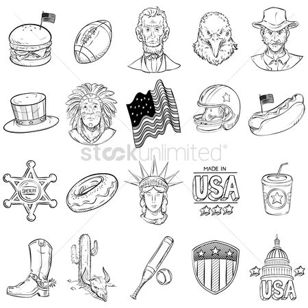 United states : Collection of america icons