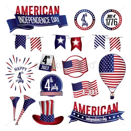 Us : Collection of american independence day icons